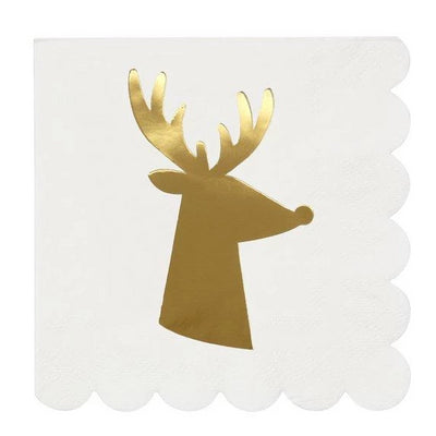 Gold Reindeer Cocktail Napkins