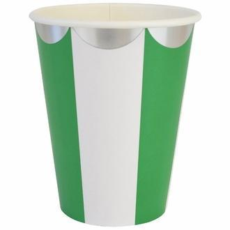 Kelly Green and Silver Scalloped Paper Cups