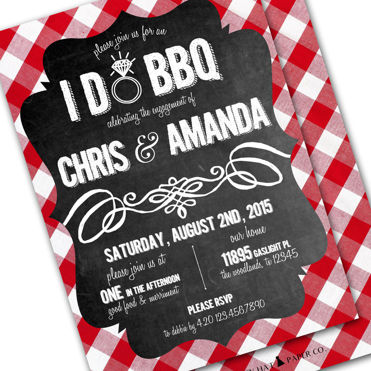i do bbq chalkboard gingham invitation