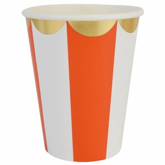 Orange and Gold Scalloped Paper Cups