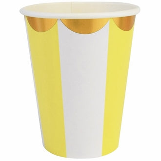 Yellow and Gold Scalloped Paper Cups