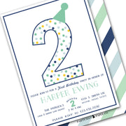 boys blue green birthday party invitation