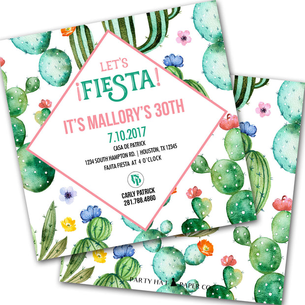 prickly party cactus fiesta invitation