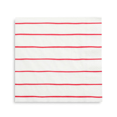 Candy Apple Red Frenchie Striped Dinner Napkins