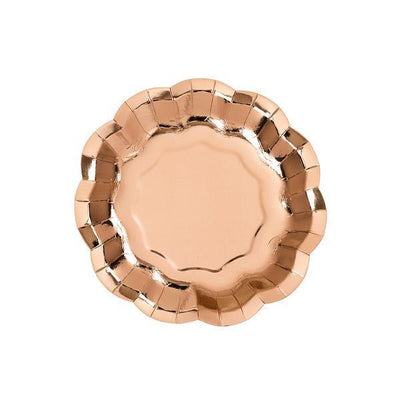 Rose Gold Scalloped Dessert Plate