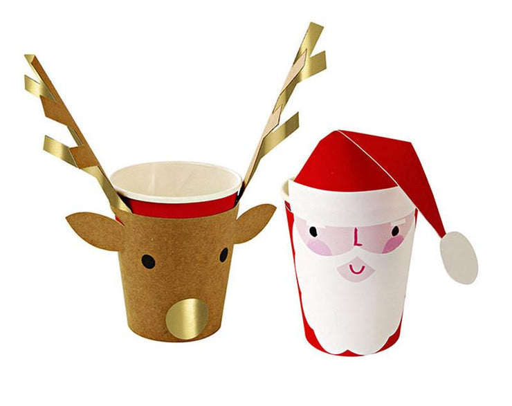 Santa & Reindeer Holiday Party Cups