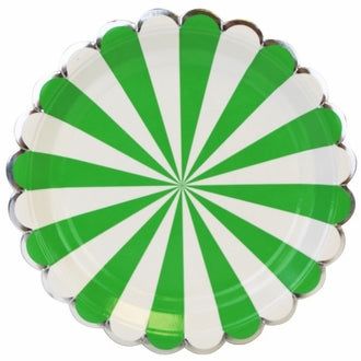 Kelly Green Scalloped Stripe Large Plates