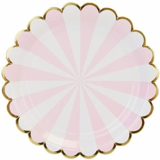 Tickled Pink Scalloped Stripe Large Plates