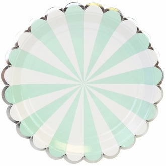 Mint Scalloped Stripe Large Plates