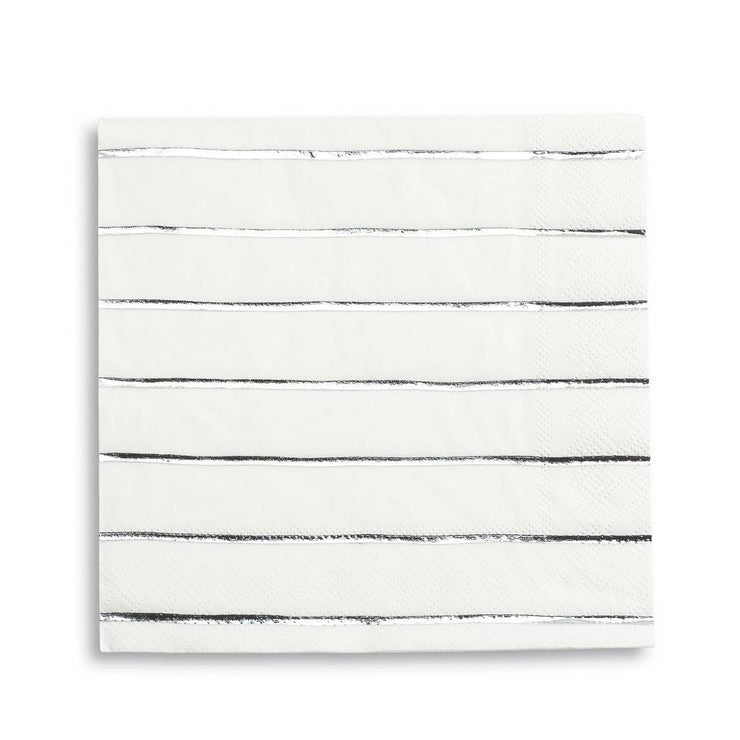 Silver Frenchie Striped Dinner Napkins