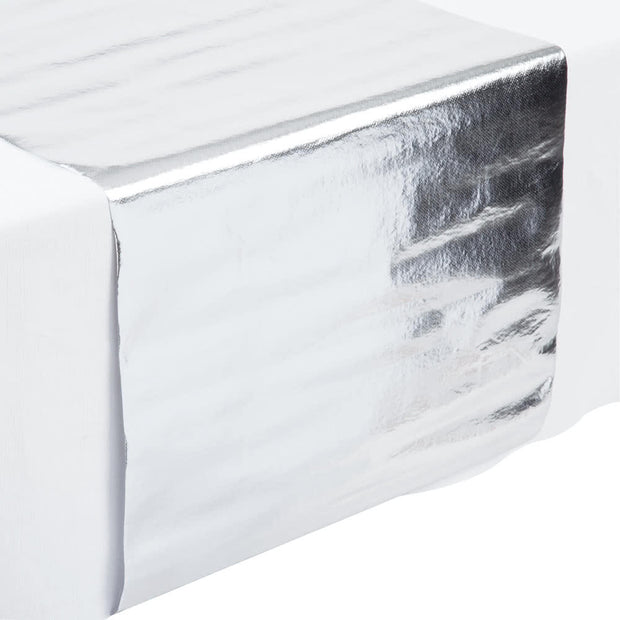 metallic silver table runner