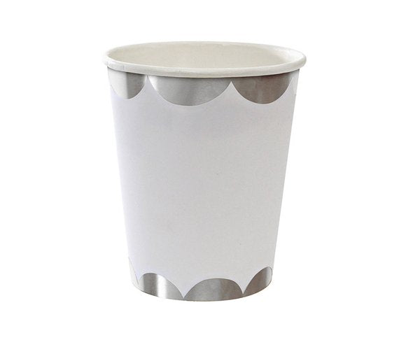 White and Silver Scalloped Paper Cups