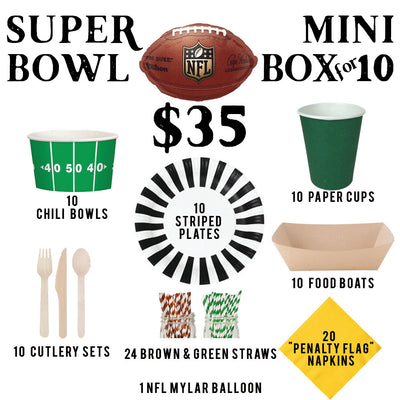 superbowl party in a box plates football