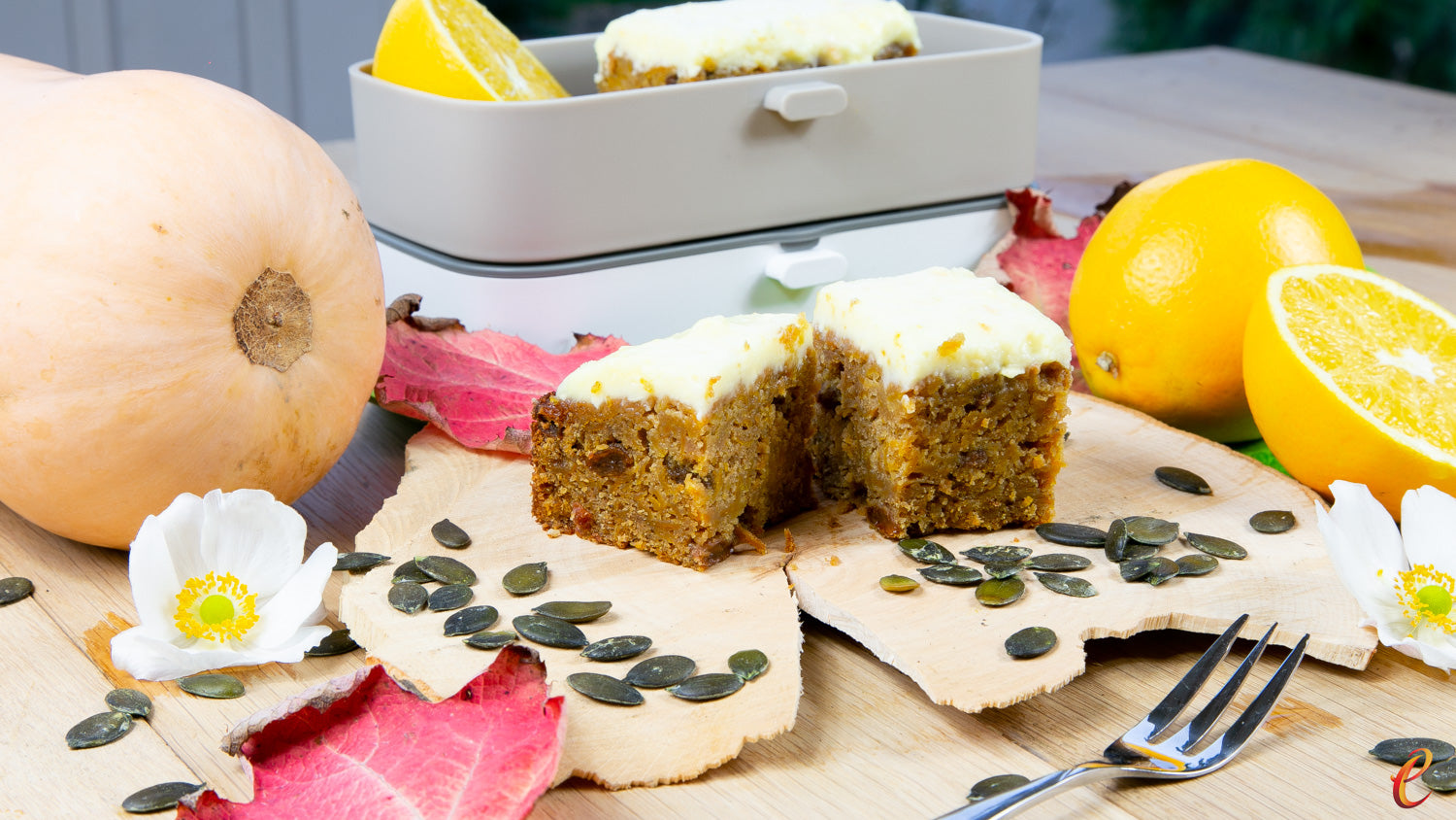 Autumnal Pumpkin & Orange Cake with Orange Frosting