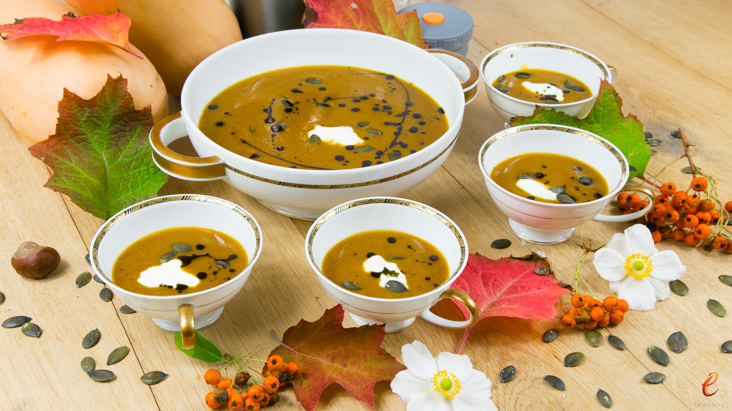 Autumnal Spicy Pumpkin Soup with Roasted Vegetables