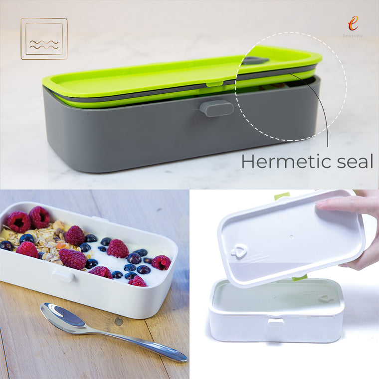 eSeasons Bento 2 tier Lunchbox Dark Grey: Leakproof Hermetic Seal, box on side shows no water leakage when properly closed