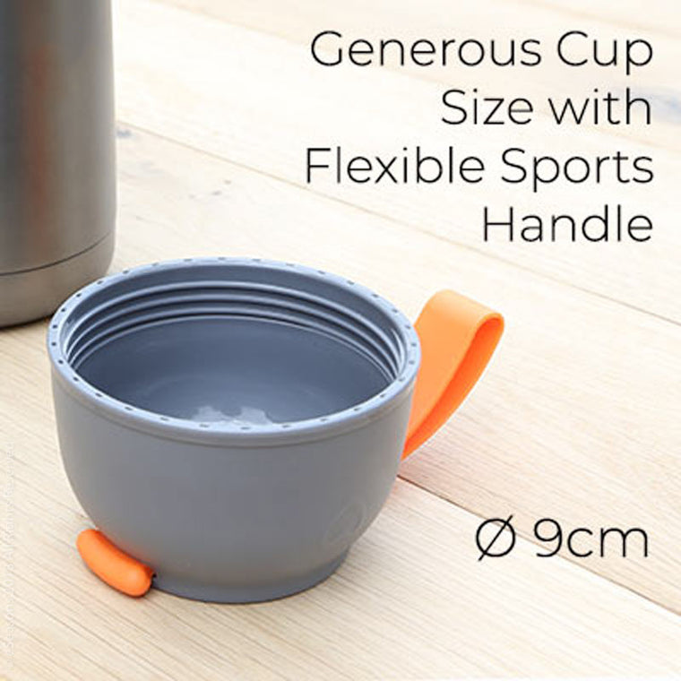 eSeasons Vacuum Insulated Food Flask features: Generous Cup Size with Flexible Sports Handle