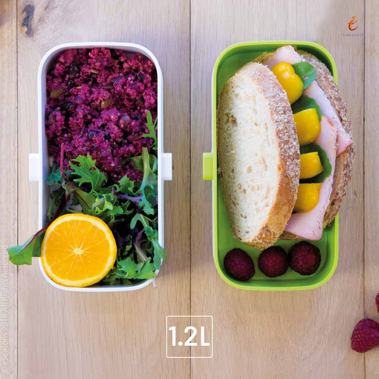 Gorgeous food photography: eSeasons Bento Lunchbox in Green with appetizing lunch including spiced beet lentils, salad and sandwich
