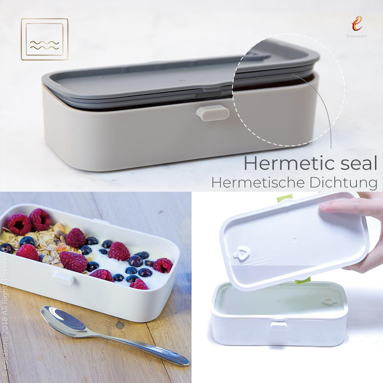 eSeasons Bento 2 tier Lunchbox Warm Grey: Leakproof Hermetic Seal, box on side shows no water leakage when properly closed