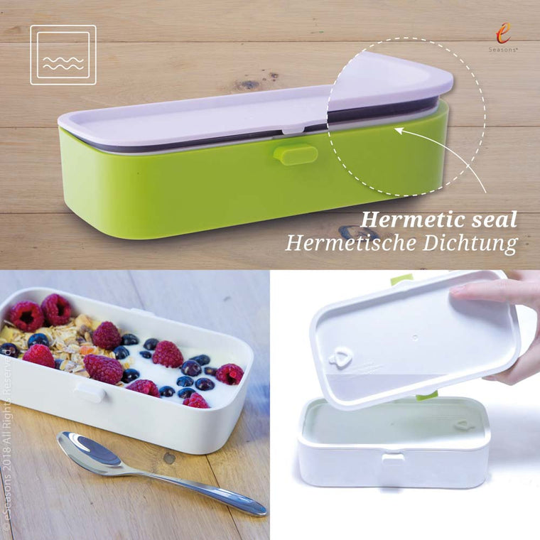 eSeasons Bento 2 tier Lunchbox green: Leakproof Hermetic Seal, box on side shows no water leakage when properly closed