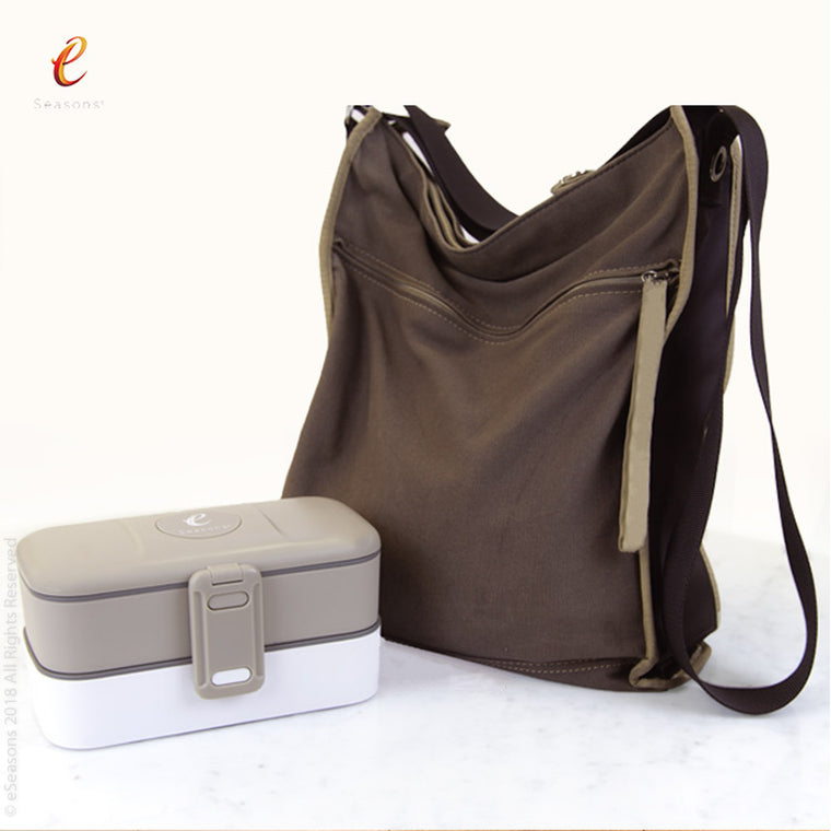 eSeasons Bento 2 tier Lunchbox Warm Grey: Easily fits inside a rucksack or handbag