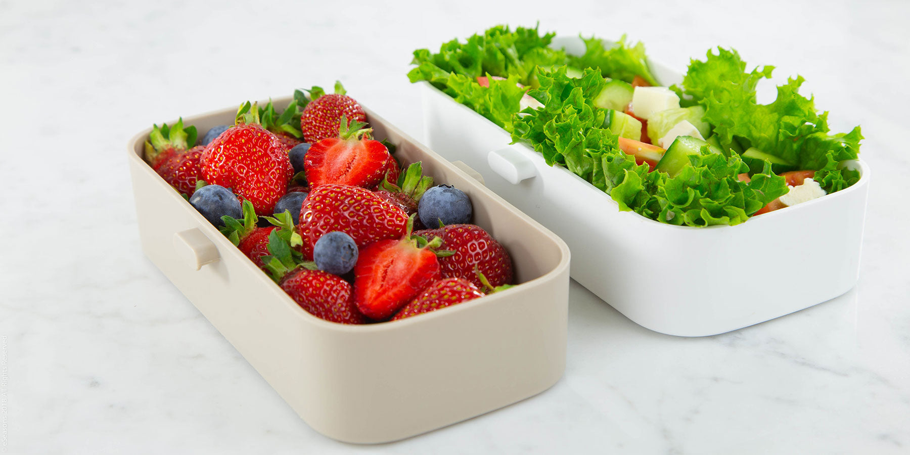 Gorgeous food photography: eSeasons Bento Lunchbox in Warm Grey with appetizing lunch of feta & tomato salad, fruit with strawberries