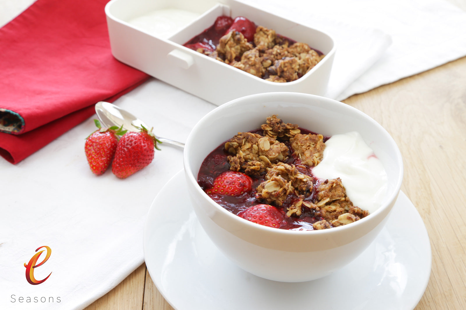 "eSeasons Strawberry Season: Strawberry Cinnamon Crunch Crumble: Cinnamon crusts on tray before baking"" />"
