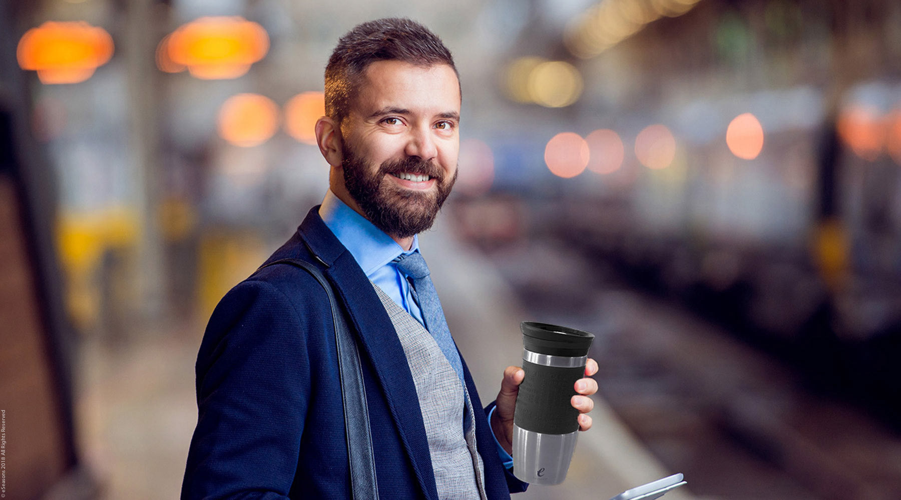eSeasons Vacuum Insulated Travel Mug: hot coffee or tea on the commute to work, at the train station