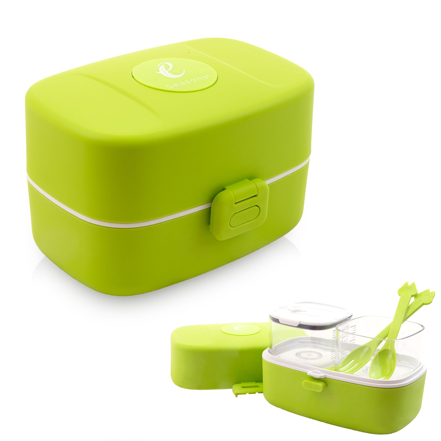 Bento Lunchbox 3 Compartments White Green