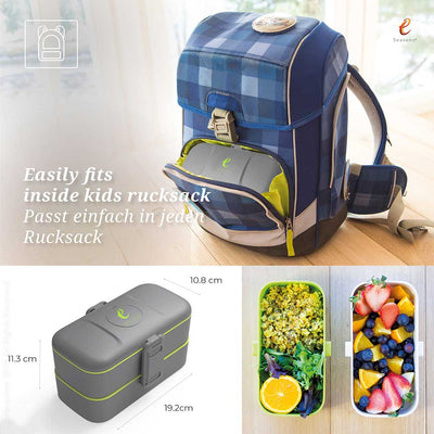 eSeasons Bento 2 tier Lunchbox Dark Grey: Easily fits inside a rucksack, and sizing information