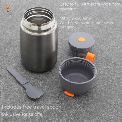 eSeasons Vacuum Insulated Stainless Steel Food Flask 430ml. Grey & Orange. Keeps hot/cold, displays parts including travel spoon
