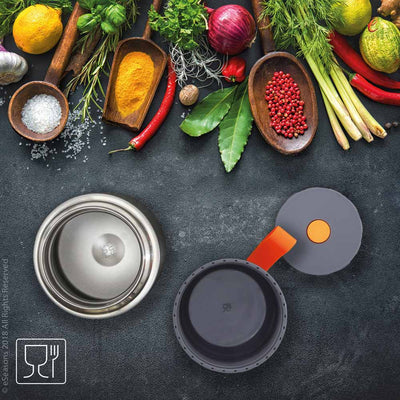 eSeasons Vacuum Insulated Stainless Steel Food Flask 430ml. Grey Orange. Herbs and spices, exotic ingredients to explore with this flask.