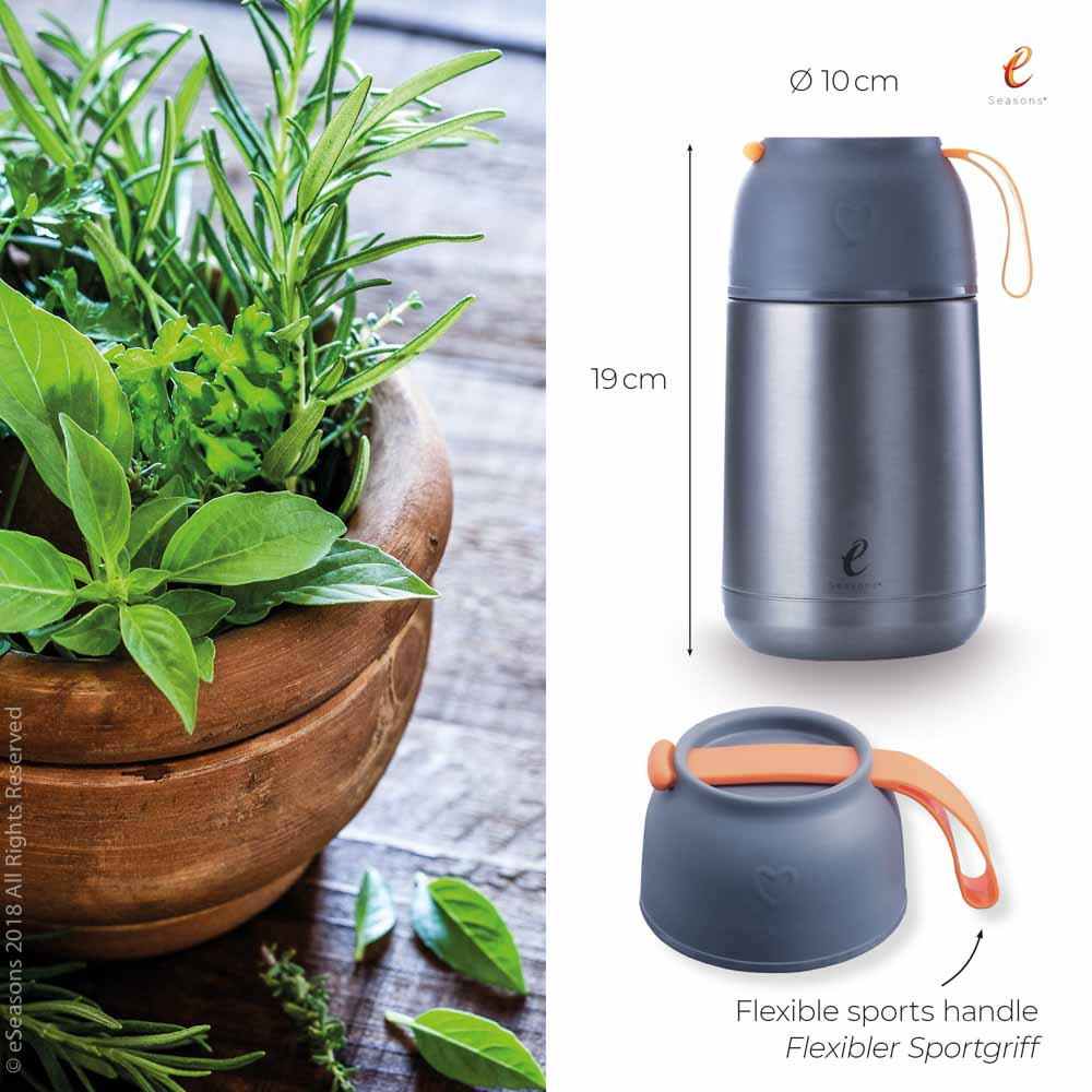eSeasons Vacuum Insulated Stainless Steel Food Flask 630ml. Grey & Orange. Sizing Information, flexible sports handle.