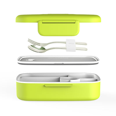 eSeasons Bento 5 Compartment Lunchbox Green with stainless steel cutlery, detailed expanded view of included components