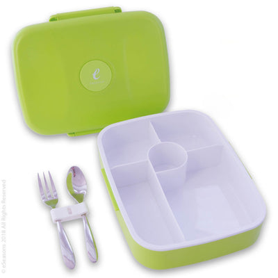 eSeasons Bento 5 Compartment Lunchbox Green with stainless cutlery, for adults & kids, microwave & dishwasher safe BPA free Parts view