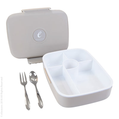 eSeasons Bento 5 Compartment Lunchbox Warm Grey with stainless cutlery, for adults & kids, microwave & dishwasher safe BPA free Parts view