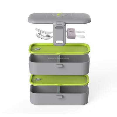 eSeasons Bento 2 tier Lunchbox Dark Grey with stainless steel cutlery, detailed expanded view of included components