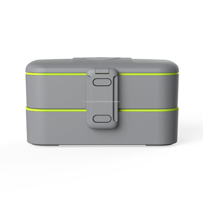 eSeasons Bento 2 tier Lunchbox Dark Grey with stainless steel cutlery, for adults & children, microwave & dishwasher safe BPA free Front View