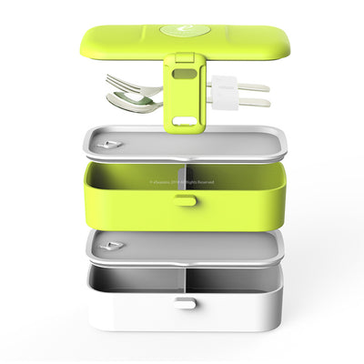 eSeasons Bento 2 tier Lunchbox Green with stainless steel cutlery, detailed expanded view of included components