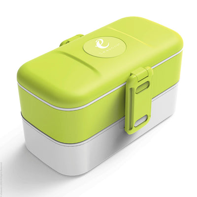 eSeasons Bento 2 tier Lunchbox Green with stainless steel cutlery, for adults & children, microwave & dishwasher safe BPA free