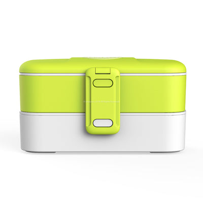 eSeasons Bento 2 tier Lunchbox Green with stainless steel cutlery, for adults & children, microwave & dishwasher safe BPA free Front View