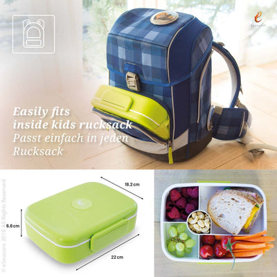 eSeasons Bento 5 Compartment Lunchbox Green: Easily fits inside a rucksack, and sizing information