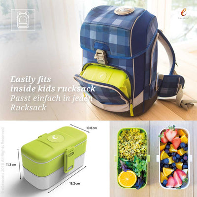 eSeasons Bento 2 tier Lunchbox Green: Easily fits inside a rucksack, and sizing information