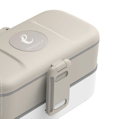 eSeasons Bento 2 tier Lunchbox Warm Grey with stainless steel cutlery, for adults & children, microwave & dishwasher safe BPA free