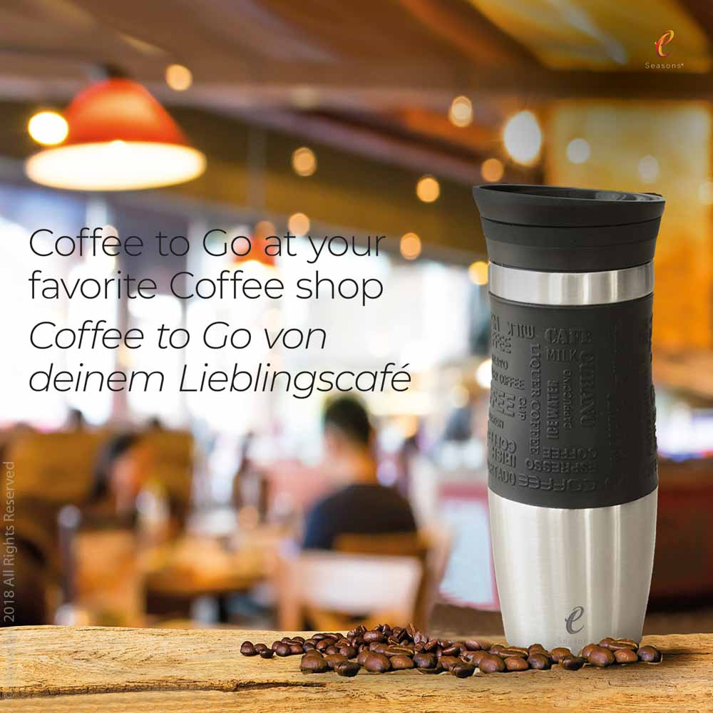 eSeasons Vacuum Insulated Reusable Coffee Cup: Our travel mug will keep your drink hot for longer & you can reuse it during the day