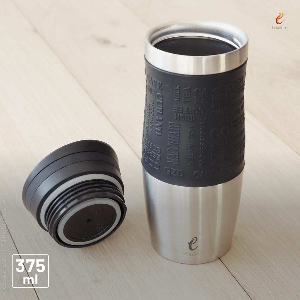 eSeasons Vacuum Insulated Travel Mug. Stainless Steel, Black 375ml. Silicone seals and high quality fittings can be seen.