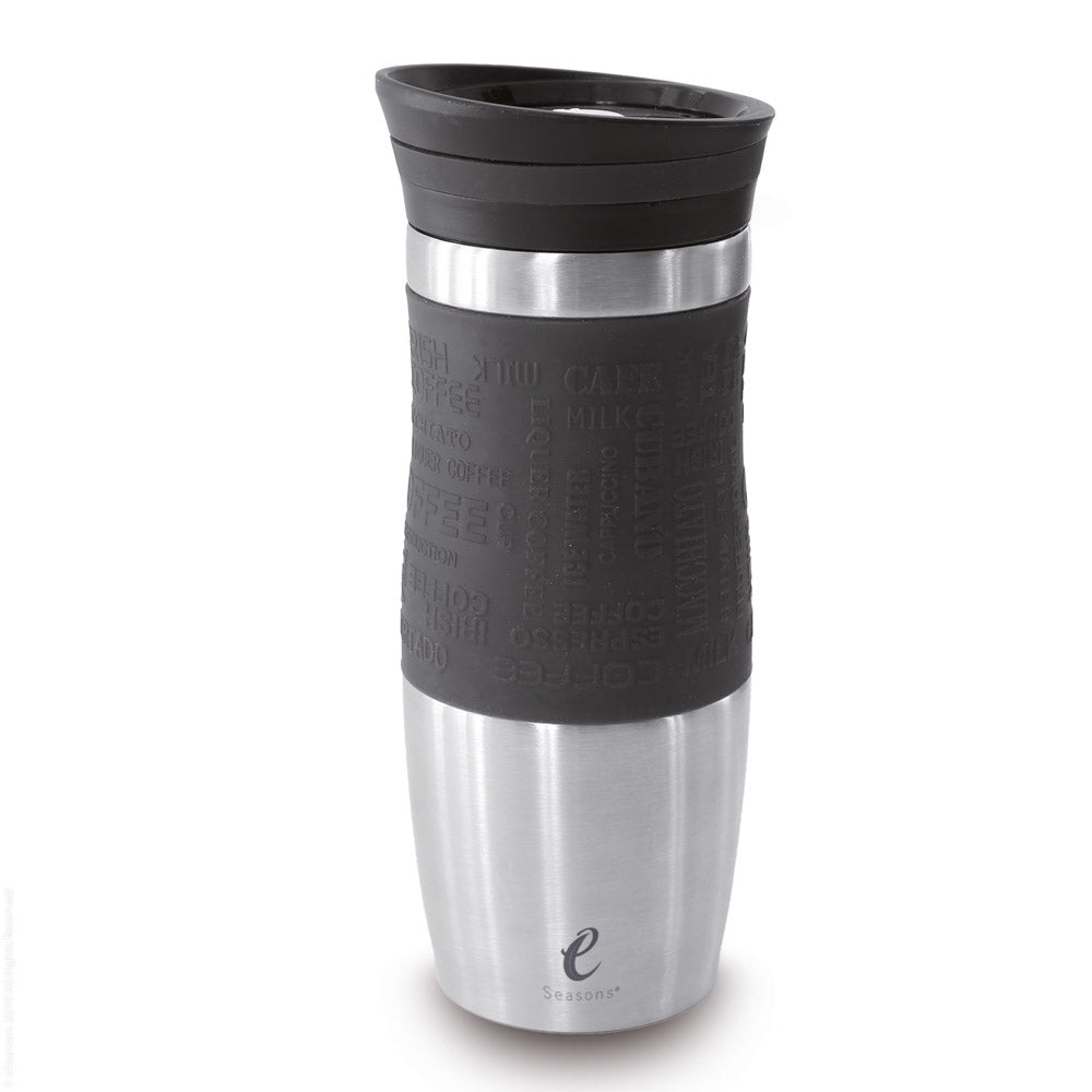 eSeasons Vacuum Insulated Travel Mug. Stainless Steel, Black 375ml. Silicone soft grip. Easy to open close and pour.