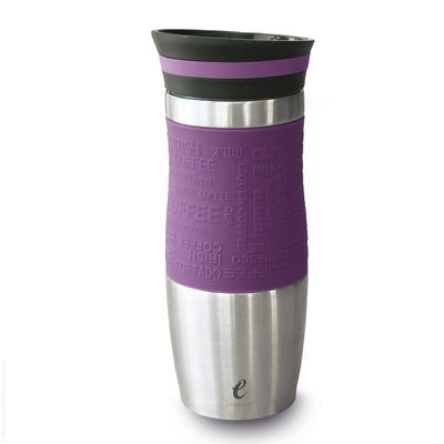 eSeasons Vacuum Insulated Travel Mug. Stainless Steel, Purple 375ml. Silicone soft grip. Easy to open close and pour.
