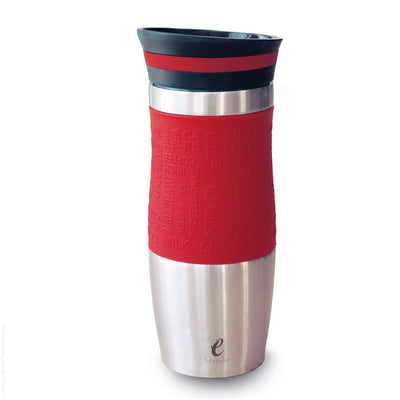 eSeasons Vacuum Insulated Travel Mug. Stainless Steel, Red 375ml. Silicone soft grip. Easy to open close and pour.