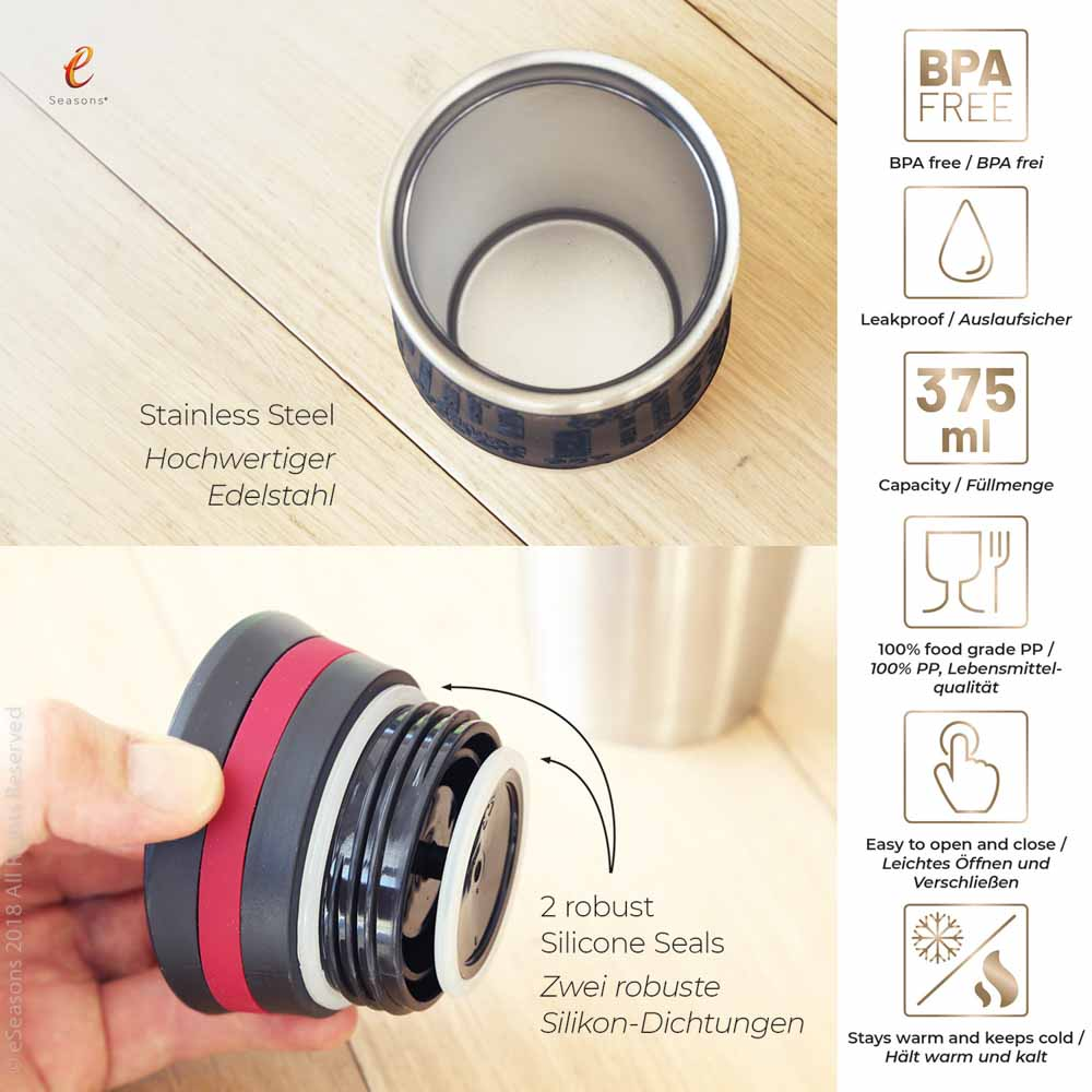 eSeasons Vacuum Insulated Reusable Coffee Cup: High quality stainless steel with robust silicone seals to lid.